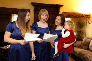 Vicky Wilson  who sings with a choir named the Chanterelles and has arranged her latest pregnancy around their appearance at Llangollen Eisteddfod in July when she will be eight months pregnant. She was also eight months pregnant with her first child, daughter Daisy, at the time of the choir's last appearance at the eisteddfod two and a half years ago. l-r Bethany de Vries, Suzanne Bottrill, Vicky Wilson with daughter Daisy Wilson, 2.  Friday 6th February 2015